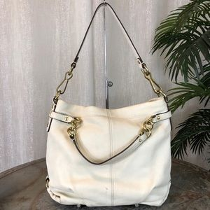 Coach Brooke 2way White Leather Hobo F17165